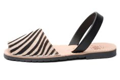 Avarca sandal, aka menorquina, Classic Style Animal Prints avarca Pons in Zebra color by Avarcas USA