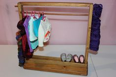 Doll Clothes Rack,Clothes Storage,Doll Furniture,18 Inch Doll Furniture By  RaysHandMadeShop