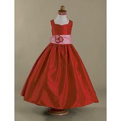 Vestido de Menina das Flores Comprido em Tafetá – EUR € 72.72