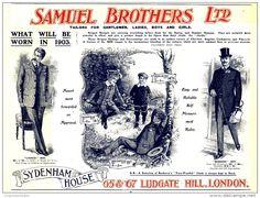 Original - Anzeige / Advertise 1903 : (ENGLISH) SAMUEL BROTHERS LTD. / TAILORS / LONDON - 250 x 190 mm