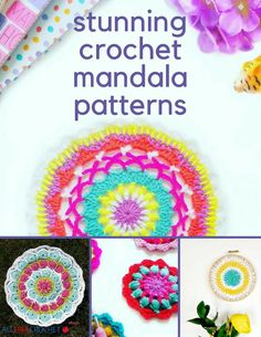 The crochet mandala is a common crochet pattern to work crochet mandala patterns are so beautiful because of the many color combinations you can use. Crochet Coaster Pattern, Crochet Mandala Pattern, Crochet Squares, Crochet Patterns, Quick Crochet, All Free Crochet, Crochet Hats, Beginner Crochet Projects, Easy Projects