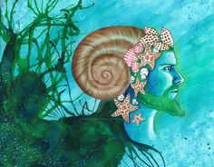 Well, after a year of saying this one was next-here it is! Manannan mac Lir-Irish God of the Sea and a continuation of the series I'm doing on Irish Gods. Made with watercolor, acrylic, food colori...
