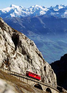 The Schynige Platte Railway or Schynige Platte Bahn - cog railway in Switzerland near Interlaken,