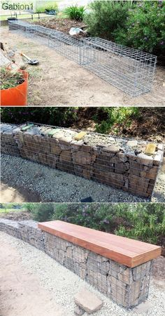 small garden gabion wall with seat showing hand stacked grade rock in the