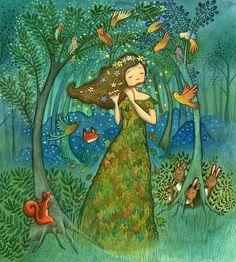 Woodland Maiden Children's Illustration by Emma Allen.