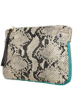 Faux Snake Zip Clutch Bag - Bags & Purses - Accessories - Topshop