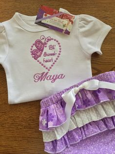 Personalized 3 pc set embroidered bodysuit ruffle bum diaper personalized baby gifts baby gift bringing by elainestiarasntutus negle Gallery