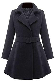 ARRIVE GUIDE Womens Fashion Plus Size Jacket Belt Lapel Woolen Pea Coat Black X-Large