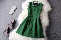 2014 New Design Spring Summer Women Work Wear Brief Dress Bodycon Evening Elegant Dress+ Necklace Green Office Dresses Plus Size $69.99