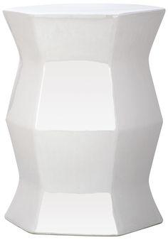 White Modern Hexagon Garden Stool design by Safavieh $130 DIMENSIONS: 13x13x18