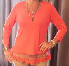 FROM WORK TO PLAY TOP!!! This light-weight 3/4 sleeve top with pretty lace/mesh detail is the splash of color you need for your closet!!! Perfect for a work day and will transition into evening with your jeans or capris!!!  Szs: S-XL; $44