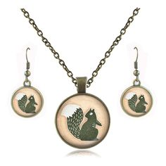 Squirrel necklace set vintage animal jewelry set glass cabochon pendant squirrel earrings sets necklace for women accessories