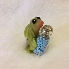 Tiny Sea Doodle Dragon Mini Jar Of Turquoise Polymer Clay By Cay Fantasy Art 765