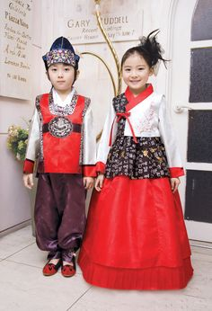 Korean dress is called Hanbok for girl's first birthday celebration or holiday and party
