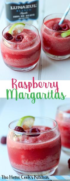Celebrate at home happy hour with these gorgeous and refreshing frozen raspberry margaritas. Quick and easy to make, light, fresh and absolutely delicious! #happyhour #margaritas #raspberrymargaritas #frozenmargaritas via @homecookskitchn