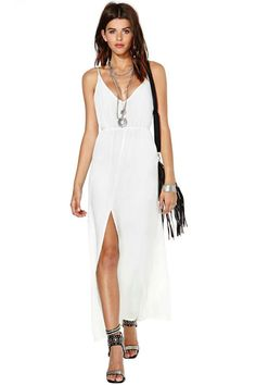 White Spaghetti Strap Drawstring Split Dress - Up to Off on Clearance Sale @ Sheinside Cute Maxi Dress, White Maxi Dresses, Dress Skirt, Dress Up, Summer Maxi, Summer Dresses, Frack, Mode Inspiration, Swagg