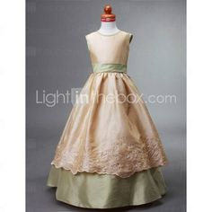 Ball Gown Jewel Floor-length Taffeta Flower Girl Dress - Brown top and champagne belt and underskirt