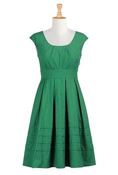 Pleated cotton poplin dress