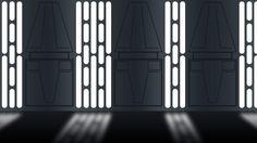 Death Star hallway Decoration Star Wars, Star Wars Decor, Spaceship Interior, Futuristic Interior, Nave Star Wars, Star Wars Bedroom, Star Wall, Star Wars Party, Death Star
