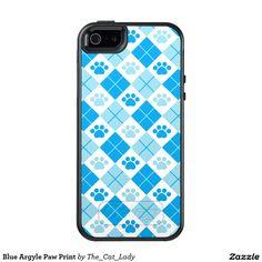 Blue Argyle Paw Print OtterBox iPhone 5/5s/SE Case