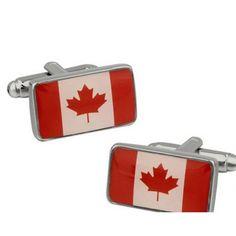 Bouton de manchette drapeau Canada rectangulaire