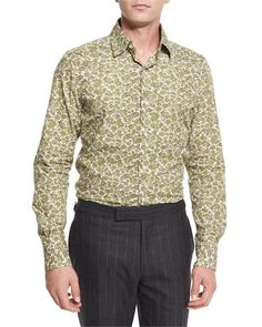 Paisley Floral-Print Shirt, White