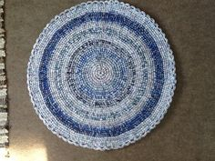 Blues round rug by gramsheart on Etsy, $40.00