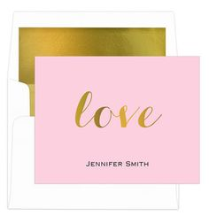 Love Foldover Foil-Pressed Note Cards with Lined Envelopes