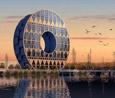Здание в виде колеса в Гуанчжоу, Китай
