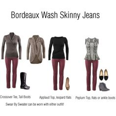 Capsule using CAbi's Bordeaux Wash Skinny Jeans by betsykregenow on Polyvore www.jeanettemurphey.cabionline.com
