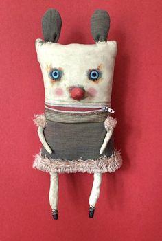 monster ooak art doll sandy mastroni zipper mouth unique