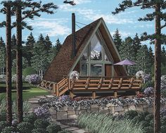 House Plan 24308, Order Code PT101 | A-Frame Contemporary Retro Plan with 823 Sq. Ft., 1 Bedrooms, 1 Bathrooms
