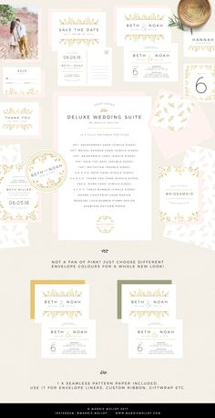 Gold Floral Wedding Invitation Suite by Maggie Molloy on @creativemarket