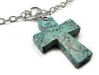 Dressy and Chunky Turquoise Fashion Cross Necklace $11