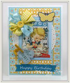 Retro Birthday Baking Cake with Kitten Greeting by PollysPaper, $7.00