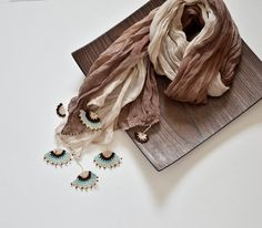 Ombre Scarf Crochet Scarf Earth Tones Wrinkled Scarf by ReddApple