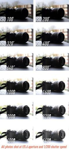 ISO comparisons, all shot at f/5.6 aperture & 1/200 shutter speed