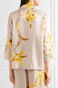 Carine Gilson - Floral-print Silk-satin Pajama Top - Yellow - x large 42901a763
