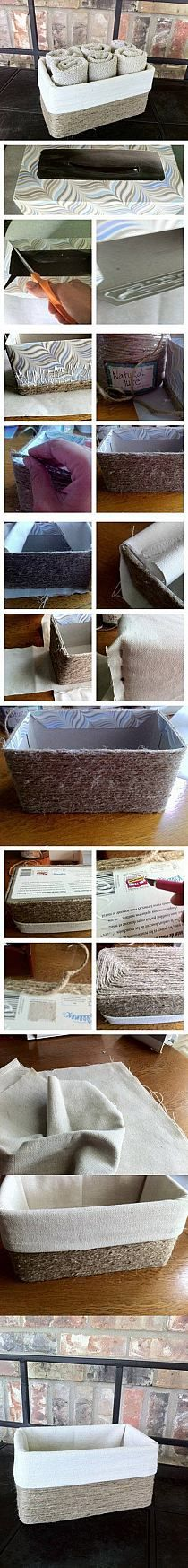 DIY Jute Basket from Cardboard Box DIY Jute Basket from Cardboard Box by diyforever Home Crafts, Fun Crafts, Diy And Crafts, Cardboard Box Diy, Ideias Diy, Diy Storage, Decorative Storage, Storage Boxes, Clothes Storage