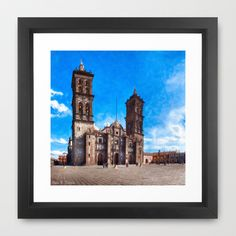Beautiful Spanish Baroque Cathedral In Puebla Mexico Framed Art Print by Mark E Tisdale - $47.00