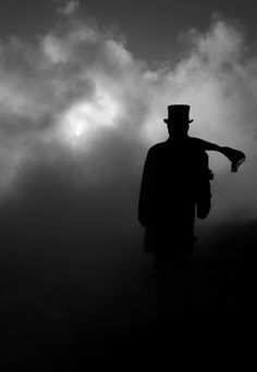 shadow and silhouette of scrooge Black N White, Black White Photos, Black And White Photography, Silhouettes, Looks Dark, Gothic, Night Circus, Nocturne, Light And Shadow