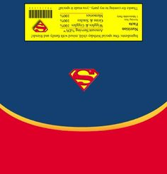 Superman Wrapper Superman Party, Superhero Party, Superhero Logos, Unicorn Printables, Candy Bar Wrappers, Candy Making, Favor Boxes, Banners, Party Ideas