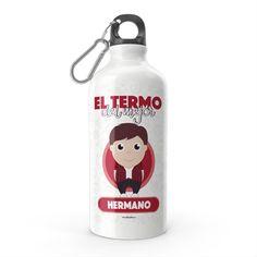 Termo - El termo del mejor hermano, encuentra este producto en nuestra tienda online y personalízalo con un nombre. Water Bottle, Drinks, Carton Box, Sisters, Store, Crates, Dibujo, Drinking, Beverages