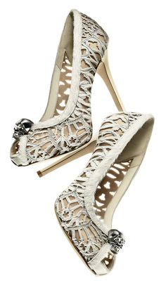 Alexander McQueen, Laser-cut white haircalf peep-toe concealed-platform pump with skull
