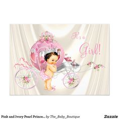Pink and Ivory Pearl Princess Baby Shower 5x7 Paper Invitation Card
