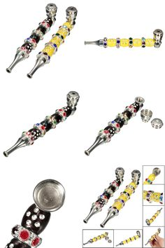 [Visit to Buy] Jamaica Jeweled Crystal Diamond Herlb Cigarette Pipe Tobacco Cigar Metal Smoke Smoking Pipe With A Cover Smoke Detectors Gift #Advertisement
