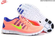 Discount Womens Nike Free 5.0 Pink Blue Yellow Shoes The Most Lightweight Shoes