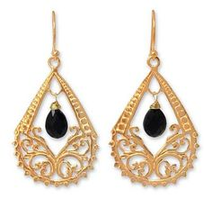 Gold vermeil onyx chandelier earrings - Royal Thailand - NOVICA