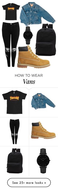 """thrasher girl"" by loabski on Polyvore featuring Boohoo, Timberland, Balenciaga, Vans and CLUSE"