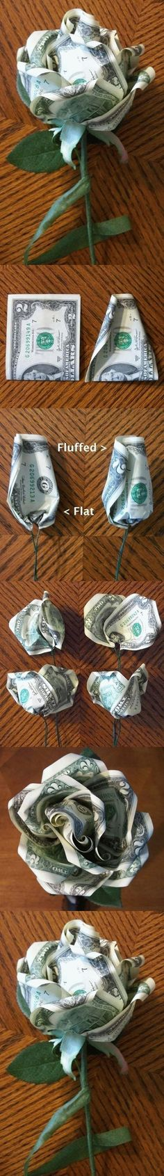 DIY Dollar Rose- I'll take a dozen please. Money Rose, Money Lei, Money Origami, Money Flowers, Paper Flowers, Homemade Gifts, Diy Gifts, Dollar Bill Origami, Diy And Crafts